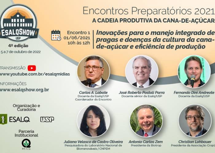 Inovações para o manejo integrado de pragas e doenças da cultura da cana-de-açúcar e eficiência de produção é o tema do primeiro Encontro Preparatório da 4ª edição do EsalqShow - EsalqShow